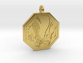 Birds Celtic Octogonal Pendant in Polished Brass
