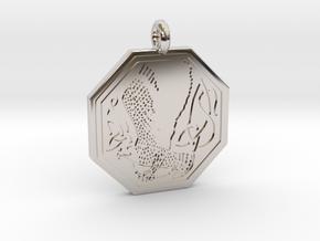 Birds Celtic Octogonal Pendant in Rhodium Plated Brass