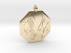 Birds Celtic Octogonal Pendant in 14K Yellow Gold