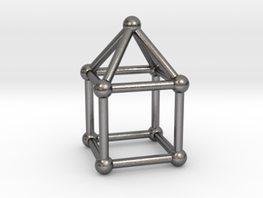 0741 J08 Elongated Square Pyramid V&E (a=1cm) #2 in Polished Nickel Steel