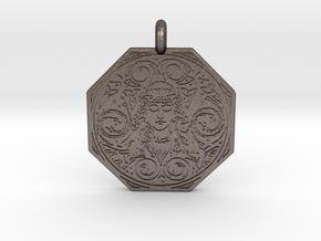 Brigantia Goddess Octagon Pendant in Polished Bronzed-Silver Steel