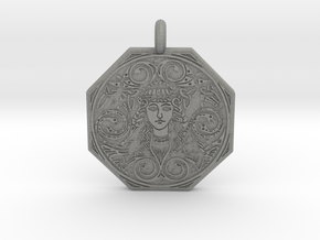 Brigantia Goddess Octagon Pendant in Gray PA12