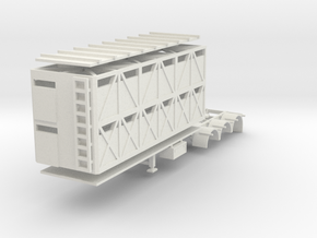 000635 Caddle Trailer A in White Natural Versatile Plastic: 1:87 - HO