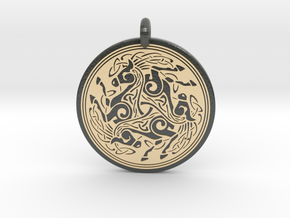 Horse Round Celtic Pendant in Glossy Full Color Sandstone