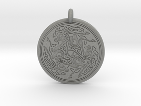 Horse  Round Celtic Pendant in Gray PA12