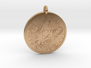 Birds Celtic Round Pendant in Polished Bronze