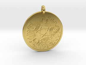 Birds Celtic Round Pendant in Polished Brass