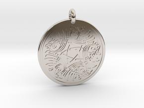Birds Celtic Round Pendant in Rhodium Plated Brass