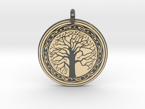 Sacred Tree Of Life Round Pendant in Glossy Full Color Sandstone