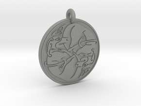 Celtic Dog round Pendant in Gray PA12