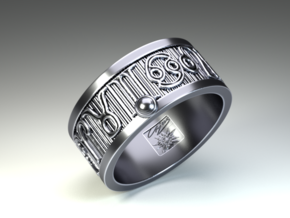 Zodiac Sign Ring Leo / 20.5mm in Antique Silver