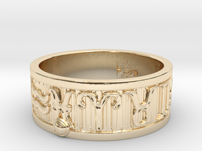 Zodiac Sign Ring Pisces / 23mm in 14K Yellow Gold