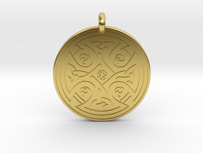 Celtic Cross - Round Pendant in Polished Brass