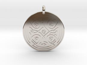 Celtic Cross - Round Pendant in Rhodium Plated Brass