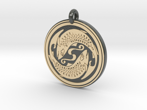 Fish Celtic - Round Pendant in Glossy Full Color Sandstone