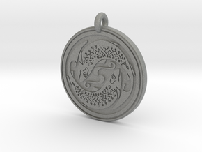 Fish Celtic - Round Pendant in Gray PA12