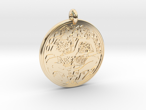 Divine Couple Celtic  - Round Pendant in 14k Gold Plated Brass