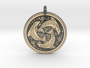 Nehalennia Dolphin Celtic - Round Pendant in Glossy Full Color Sandstone