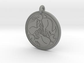 Hare Celtic  - Round Pendant in Gray PA12