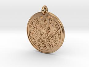 Brigantia Goddess Round Pendant in Polished Bronze