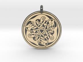 Cat Celtic  - Round Pendant in Glossy Full Color Sandstone