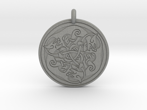 Cat Celtic  - Round Pendant in Gray PA12
