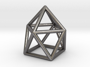 0746 J10 Gyroelongated Square Pyramid (a=1cm) #1 in Polished Nickel Steel