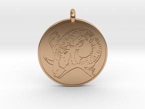 Big Horn Sheep  Animal Totem Pendant in Polished Bronze