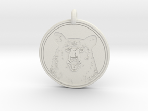 Black Bear Portait Animal Totem Pendant in White Natural Versatile Plastic