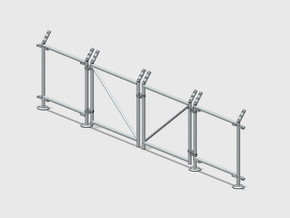 Chain-Link Security Fence 10' Double Gate, R/Latch in White Natural Versatile Plastic: 1:87 - HO