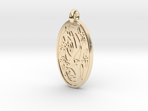 Sacred Tree/Tree of Life - Oval Pendant in 14K Yellow Gold