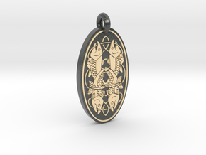 Fish - Oval Pendant in Glossy Full Color Sandstone