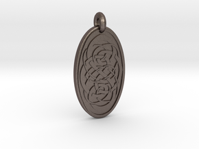 Knotwork - Oval Pendant in Polished Bronzed-Silver Steel