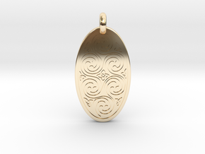 Spirals - Oval Pendant in 14K Yellow Gold