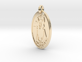 Horse - Oval Pendant in 14K Yellow Gold