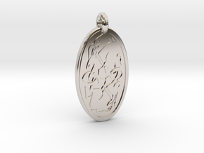 Hare - Oval Pendant in Platinum