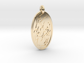 Hare - Oval Pendant in 14K Yellow Gold