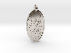 Dragon - Oval Pendant in Rhodium Plated Brass