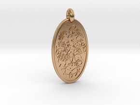 Divine Couple - Round Pendant in Polished Bronze