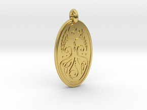 Cerridwen - Oval Pendant in Polished Brass