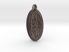 Cat - Oval Pendant in Polished Bronzed-Silver Steel