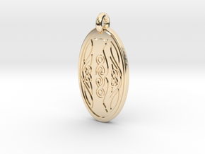 Cat - Oval Pendant in 14k Gold Plated Brass