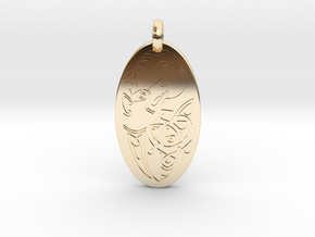 Dog - Oval Pendant in 14K Yellow Gold
