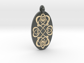 Heart - Oval Pendant in Glossy Full Color Sandstone