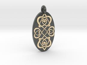 Heart - Oval Pendant in Glossy Full Color Sandstone