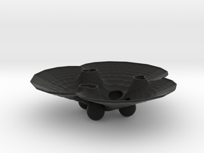 3pFractalBowl in Black Natural Versatile Plastic