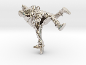 Swiss wrestling - 50mm high in Rhodium Plated Brass