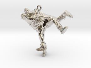 Swiss wrestling - 35mm high in Rhodium Plated Brass