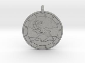 Caribou Animal Totem Pendant in Aluminum