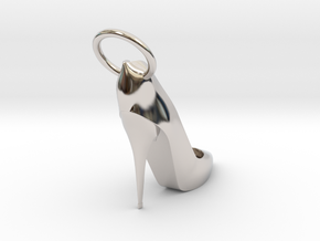 Right Foot Heel Earring in Rhodium Plated Brass